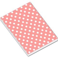 Coral And White Polka Dots Large Memo Pads