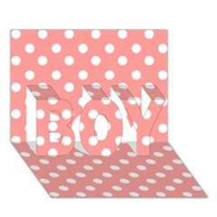 Coral And White Polka Dots BOY 3D Greeting Card (7x5)