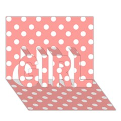 Coral And White Polka Dots GIRL 3D Greeting Card (7x5)