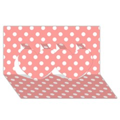 Coral And White Polka Dots Twin Hearts 3D Greeting Card (8x4)