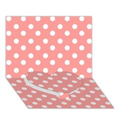 Coral And White Polka Dots Heart Bottom 3d Greeting Card (7x5)
