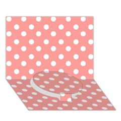 Coral And White Polka Dots Circle Bottom 3D Greeting Card (7x5)