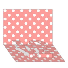 Coral And White Polka Dots LOVE Bottom 3D Greeting Card (7x5)