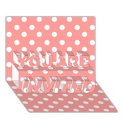 Coral And White Polka Dots YOU ARE INVITED 3D Greeting Card (7x5)