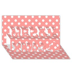 Coral And White Polka Dots Merry Xmas 3d Greeting Card (8x4)