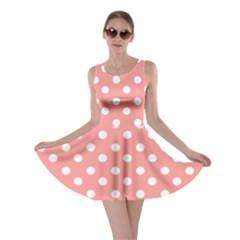 Coral And White Polka Dots Skater Dresses