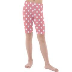 Coral And White Polka Dots Kid s swimwear