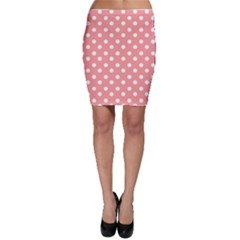 Coral And White Polka Dots Bodycon Skirts