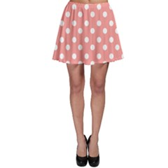Coral And White Polka Dots Skater Skirts