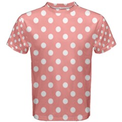 Coral And White Polka Dots Men s Cotton Tees