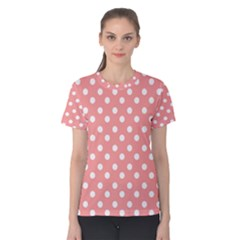 Coral And White Polka Dots Women s Cotton Tees