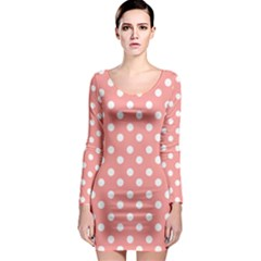 Coral And White Polka Dots Long Sleeve Bodycon Dresses