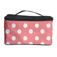 Coral And White Polka Dots Cosmetic Storage Cases