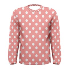 Coral And White Polka Dots Men s Long Sleeve T-shirts