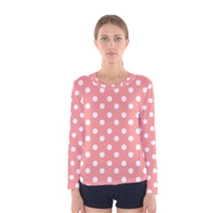 Coral And White Polka Dots Women s Long Sleeve T-shirts