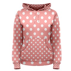 Coral And White Polka Dots Women s Pullover Hoodies