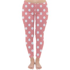 Coral And White Polka Dots Winter Leggings