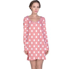 Coral And White Polka Dots Long Sleeve Nightdresses