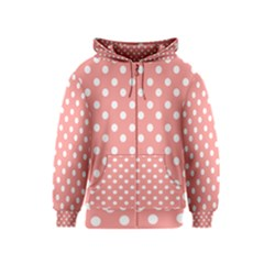 Coral And White Polka Dots Kids Zipper Hoodies