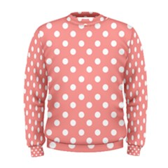 Coral And White Polka Dots Men s Sweatshirts