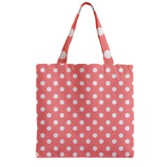 Coral And White Polka Dots Zipper Grocery Tote Bags