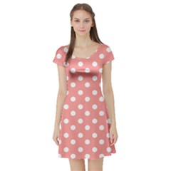 Coral And White Polka Dots Short Sleeve Skater Dresses