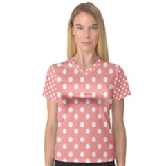 Coral And White Polka Dots Women s V-Neck Sport Mesh Tee