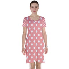 Coral And White Polka Dots Short Sleeve Nightdresses
