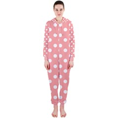 Coral And White Polka Dots Hooded Jumpsuit (Ladies)