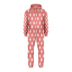 Coral And White Polka Dots Hooded Jumpsuit (kids)