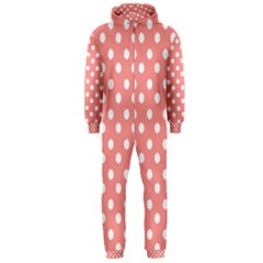 Coral And White Polka Dots Hooded Jumpsuit (men)