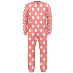 Coral And White Polka Dots Onepiece Jumpsuit (men)