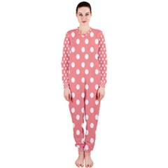 Coral And White Polka Dots OnePiece Jumpsuit (Ladies)