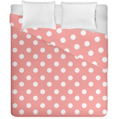 Coral And White Polka Dots Duvet Cover (double Size)
