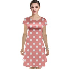 Coral And White Polka Dots Cap Sleeve Nightdresses