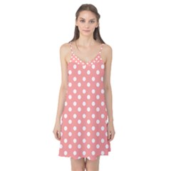 Coral And White Polka Dots Camis Nightgown