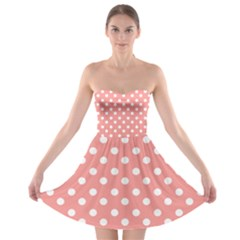 Coral And White Polka Dots Strapless Bra Top Dress