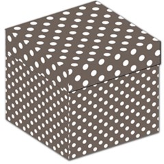 Brown And White Polka Dots Storage Stool 12