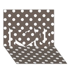 Brown And White Polka Dots I Love You 3d Greeting Card (7x5)