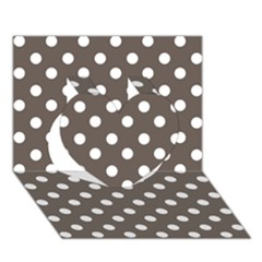 Brown And White Polka Dots Heart 3D Greeting Card (7x5)