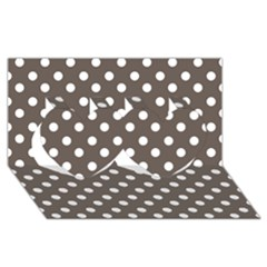 Brown And White Polka Dots Twin Hearts 3d Greeting Card (8x4)