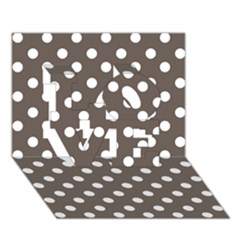 Brown And White Polka Dots Love 3d Greeting Card (7x5)