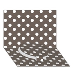 Brown And White Polka Dots Circle Bottom 3D Greeting Card (7x5)