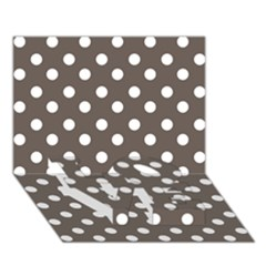 Brown And White Polka Dots Love Bottom 3d Greeting Card (7x5)