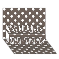 Brown And White Polka Dots You Are Invited 3d Greeting Card (7x5)