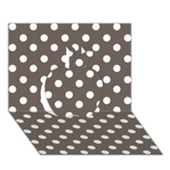 Brown And White Polka Dots Apple 3D Greeting Card (7x5)