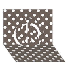 Brown And White Polka Dots Peace Sign 3D Greeting Card (7x5)