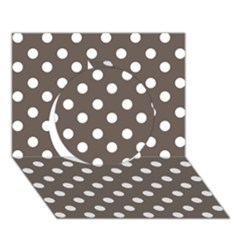 Brown And White Polka Dots Circle 3D Greeting Card (7x5)