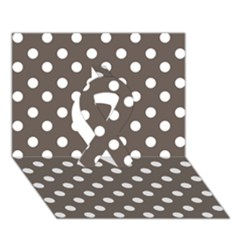 Brown And White Polka Dots Ribbon 3D Greeting Card (7x5)