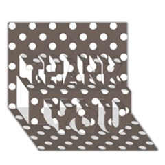 Brown And White Polka Dots Thank You 3d Greeting Card (7x5)